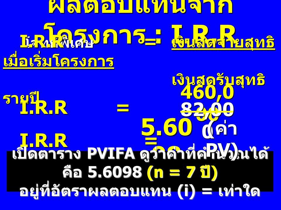 ผลตอบแทนจาก โครงการ : I.R.R โจทย์พิเศษ โจทย์พิเศษ I.R.R = เงินสดจ่ายสุทธิ เมื่อเริ่มโครงการ เงินสดรับสุทธิ รายปี I.R.R = 460,0 00 82,00 0 I.R.R = I.R.