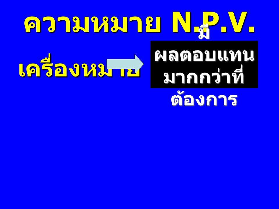 ความหมาย N.P.V. เครื่องหมาย + เครื่องหมาย + มี ผลตอบแทน มากกว่าที่ ต้องการ