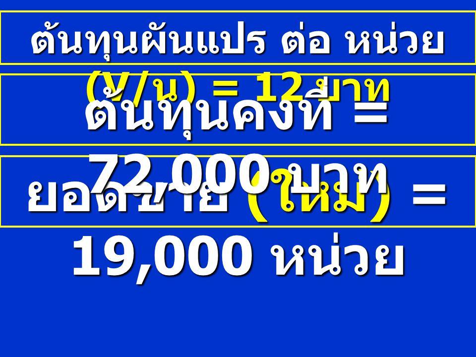 ต้นทุนผันแปร ต่อ หน่วย (V/ น ) = 12 บาท ยอดขาย ( ใหม่ ) = 19,000 หน่วย ต้นทุนคงที่ = 72,000 บาท