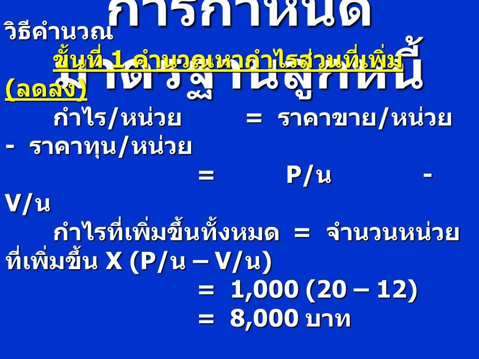 การกำหนด มาตรฐานลูกหนี้ วิธีคำนวณ ขั้นที่ 1 คำนวณหากำไรส่วนที่เพิ่ม ( ลดลง ) ขั้นที่ 1 คำนวณหากำไรส่วนที่เพิ่ม ( ลดลง ) กำไร / หน่วย = ราคาขาย / หน่วย
