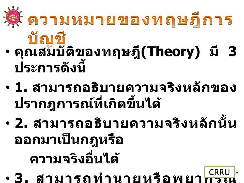 คำตอบ ก. ทฤษฎีการบัญชีเกิดจาก ข้อมูลเชิงคณิตศาสตร์ ที่ผ่านการทดสอบความ ถูกต้อง