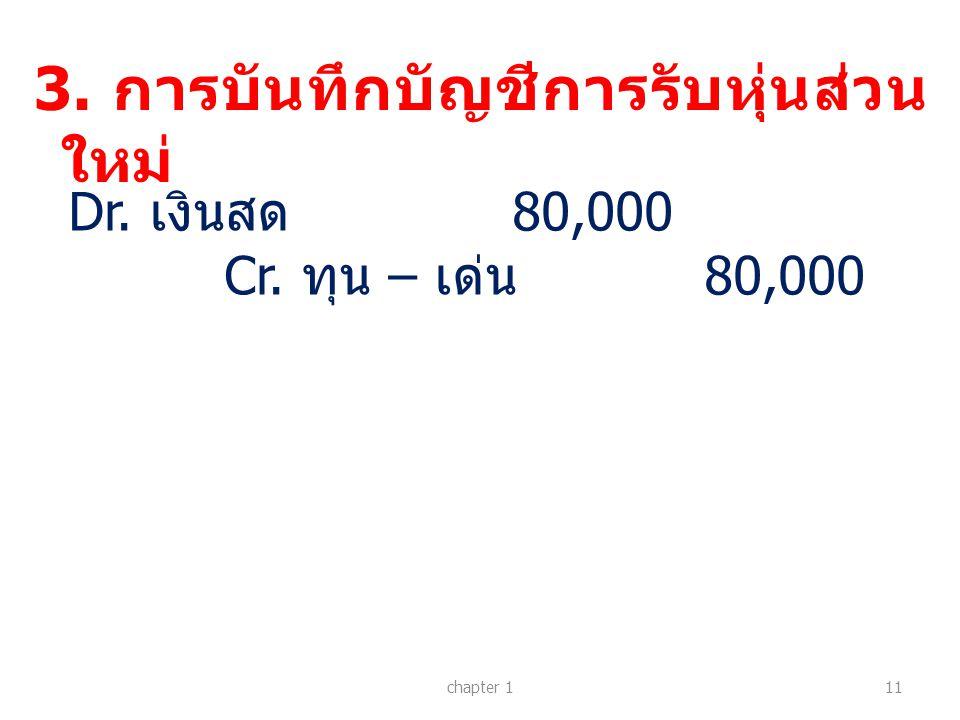 3. การบันทึกบัญชีการรับหุ่นส่วน ใหม่ chapter 111 Dr. เงินสด 80,000 Cr. ทุน – เด่น 80,000