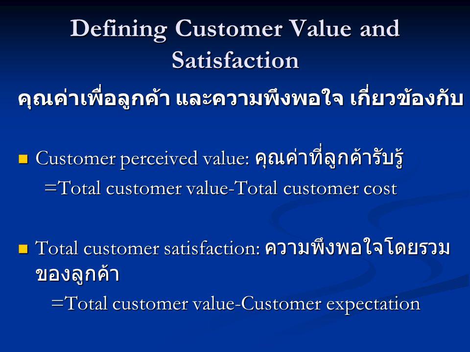 Defining Customer Value and Satisfaction คุณค่าเพื่อลูกค้า และความพึงพอใจ เกี่ยวข้องกับ  Customer perceived value: คุณค่าที่ลูกค้ารับรู้ =Total customer value-Total customer cost =Total customer value-Total customer cost  Total customer satisfaction: ความพึงพอใจโดยรวม ของลูกค้า =Total customer value-Customer expectation =Total customer value-Customer expectation