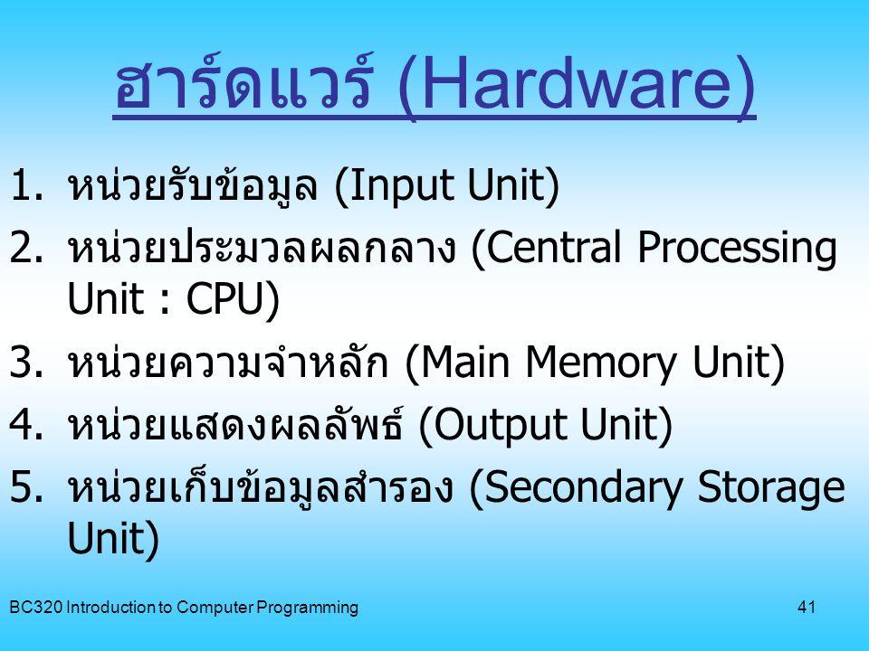 BC320 Introduction to Computer Programming42 ซอฟต์แวร์ (Software) 1.
