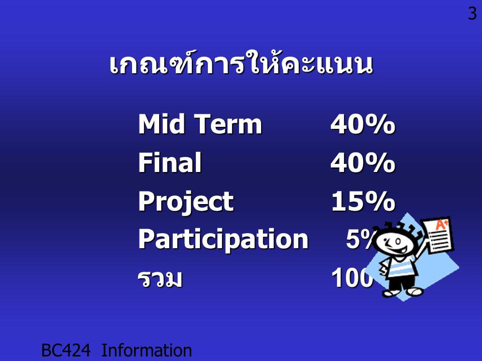 BC424 Information Technology 3เกณฑ์การให้คะแนน Mid Term40% Final40% Project15% Participation 5% รวม100%