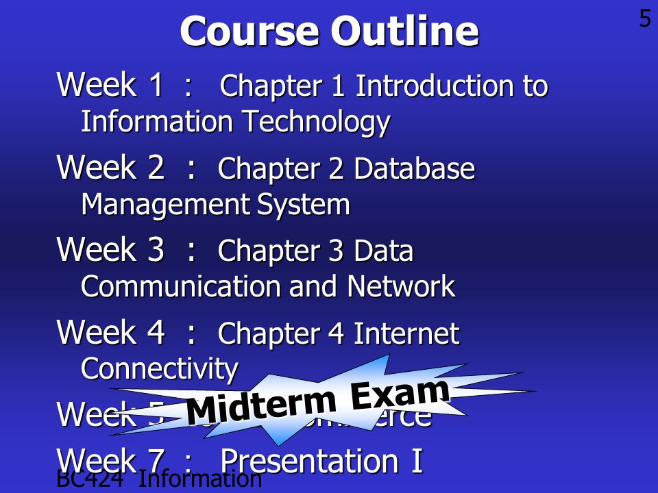 BC424 Information Technology 5Course Outline Week 1 : Chapter 1 Introduction to Information Technology Week 2 : Chapter 2 Database Management System Week 3 : Chapter 3 Data Communication and Network Week 4 : Chapter 4 Internet Connectivity Week 5 -6: E-Commerce Week 7 : Presentation I Midterm Exam