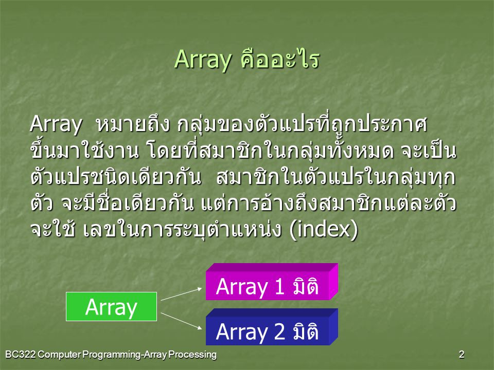 BC322 Computer Programming-Array Processing2 Array คืออะไร Array หมายถึง กลุ่มของตัวแปรที่ถูกประกาศ ขึ้นมาใช้งาน โดยที่สมาชิกในกลุ่มทั้งหมด จะเป็น ตัว
