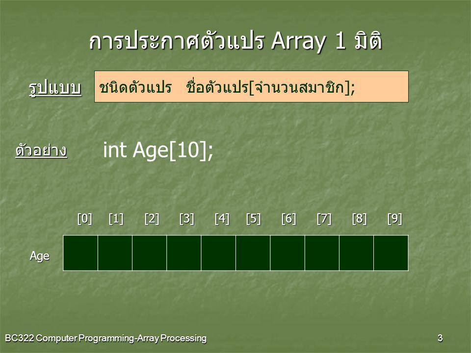 BC322 Computer Programming-Array Processing3 การประกาศตัวแปร Array 1 มิติ [0][1][2][3][4][6][5][7][8][9] Age int Age[10]; ชนิดตัวแปร ชื่อตัวแปร[จำนวนส
