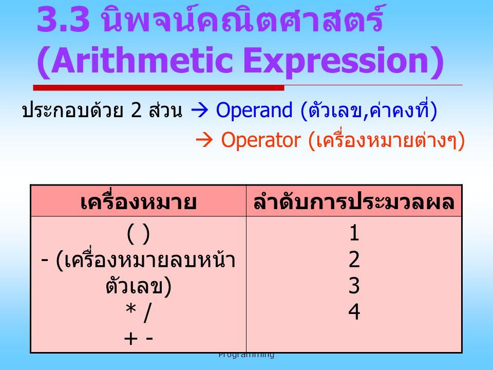 BC320 Introduction to Computer Programming 18 3.3 นิพจน์คณิตศาสตร์ (Arithmetic Expression) ประกอบด้วย 2 ส่วน  Operand (ตัวเลข,ค่าคงที่)  Operator (เ