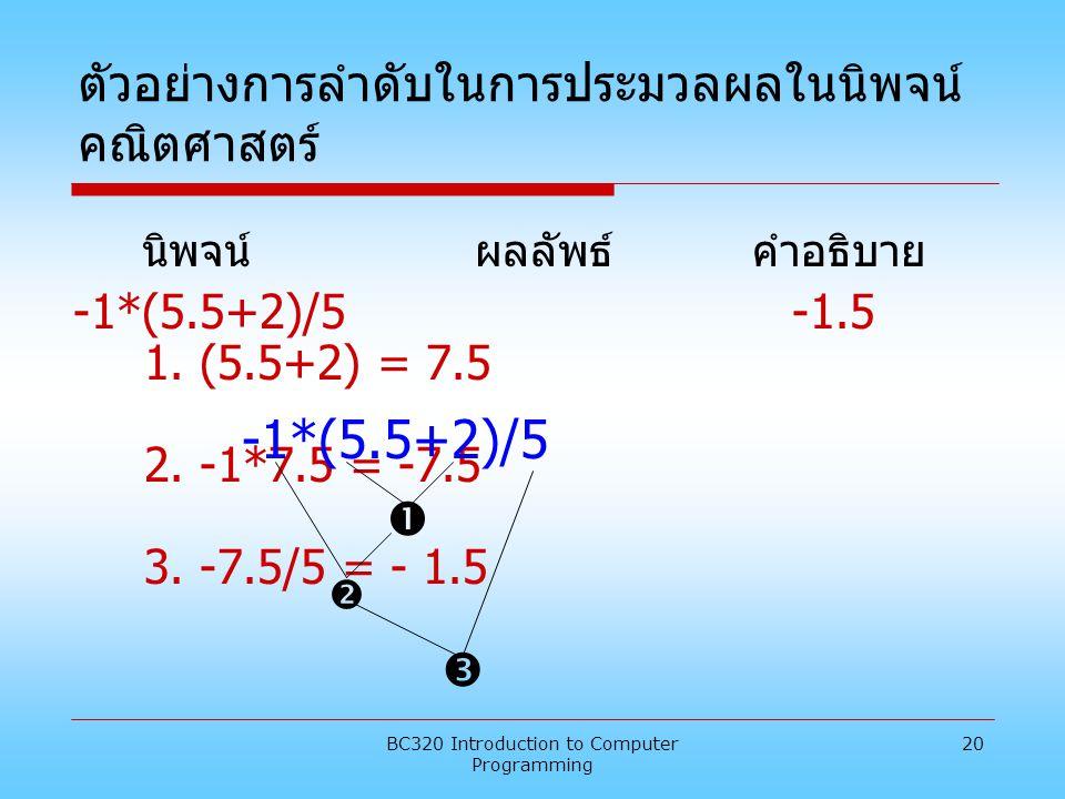BC320 Introduction to Computer Programming 20 ตัวอย่างการลำดับในการประมวลผลในนิพจน์ คณิตศาสตร์ นิพจน์ ผลลัพธ์ คำอธิบาย -1*(5.5+2)/5 -1.5 1. (5.5+2) =