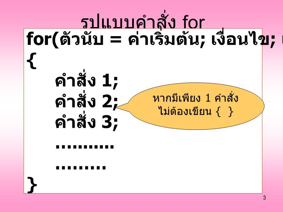 3 รูปแบบคำสั่ง for for( ตัวนับ = ค่าเริ่มต้น ; เงื่อนไข ; เปลี่ยนค่าตัวนับ ) { คำสั่ง 1; คำสั่ง 2; คำสั่ง 3; …........ ……… } หากมีเพียง 1 คำสั่ง ไม่ต้