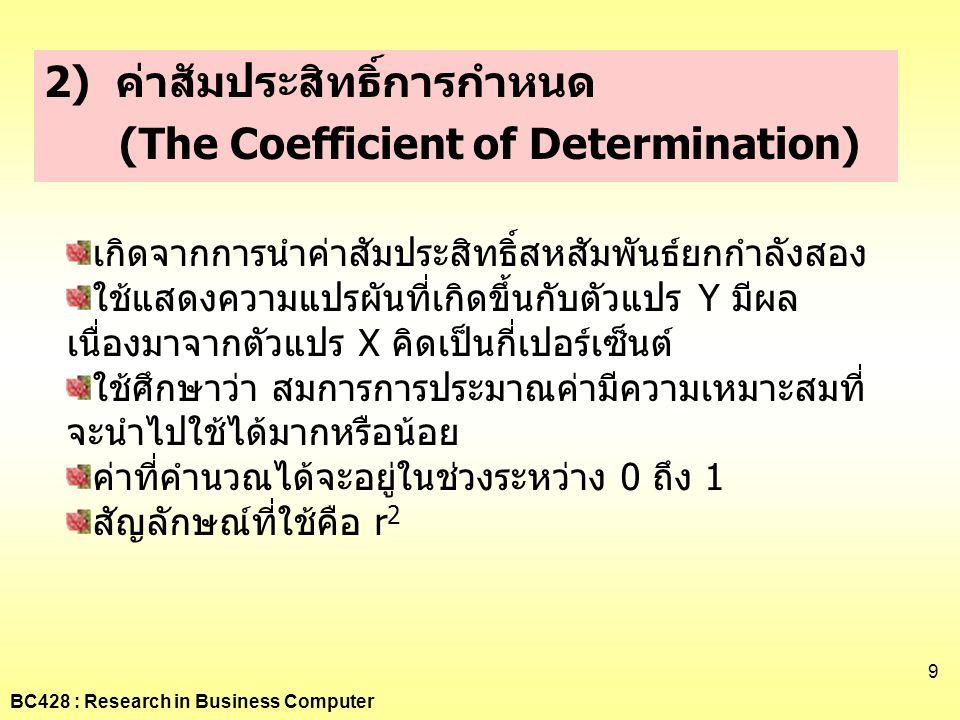 BC428 : Research in Business Computer 9 2) ค่าสัมประสิทธิ์การกำหนด (The Coefficient of Determination) เกิดจากการนำค่าสัมประสิทธิ์สหสัมพันธ์ยกกำลังสอง