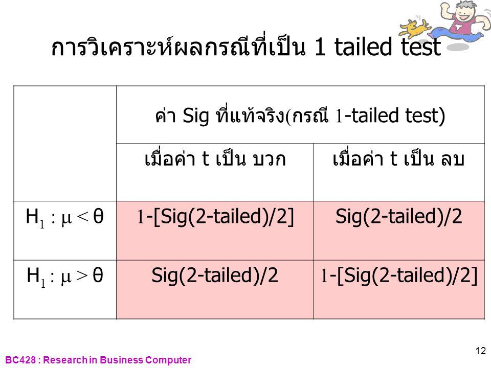 BC428 : Research in Business Computer 12 การวิเคราะห์ผลกรณีที่เป็น 1 tailed test ค่า Sig ที่แท้จริง ( กรณี 1-tailed test) เมื่อค่า t เป็น บวกเมื่อค่า