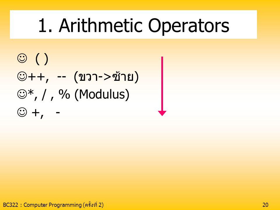 BC322 : Computer Programming (ครั้งที่ 2)20 1. Arithmetic Operators  ( )  ++, -- (ขวา->ซ้าย)  *, /, % (Modulus)  +, -