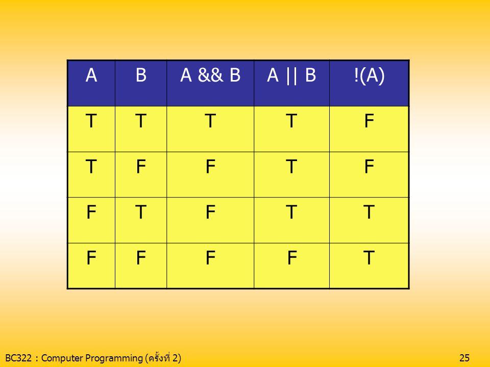 BC322 : Computer Programming (ครั้งที่ 2)26 Ex กำหนดให้ a = 9 จงหาผลลัพธ์ต่อไปนี้ •(a>0)&&(a<5); •(a>0)  (a<5); •!(a>0);