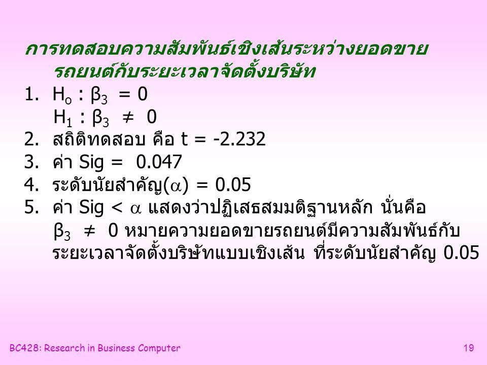 BC428: Research in Business Computer19 การทดสอบความสัมพันธ์เชิงเส้นระหว่างยอดขาย รถยนต์กับระยะเวลาจัดตั้งบริษัท 1.H o : β 3 = 0 H 1 : β 3 ≠ 0 2.สถิติทดสอบ คือ t = -2.232 3.ค่า Sig = 0.047 4.ระดับนัยสำคัญ(  ) = 0.05 5.ค่า Sig <  แสดงว่าปฏิเสธสมมติฐานหลัก นั่นคือ β 3 ≠ 0 หมายความยอดขายรถยนต์มีความสัมพันธ์กับ ระยะเวลาจัดตั้งบริษัทแบบเชิงเส้น ที่ระดับนัยสำคัญ 0.05