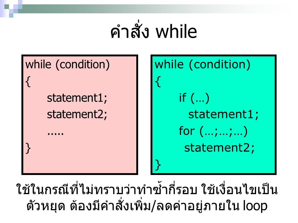 คำสั่ง while while (condition) { statement1; statement2;..... } while (condition) { if (…) statement1; for (…;…;…) statement2; } ใช้ในกรณีที่ไม่ทราบว่