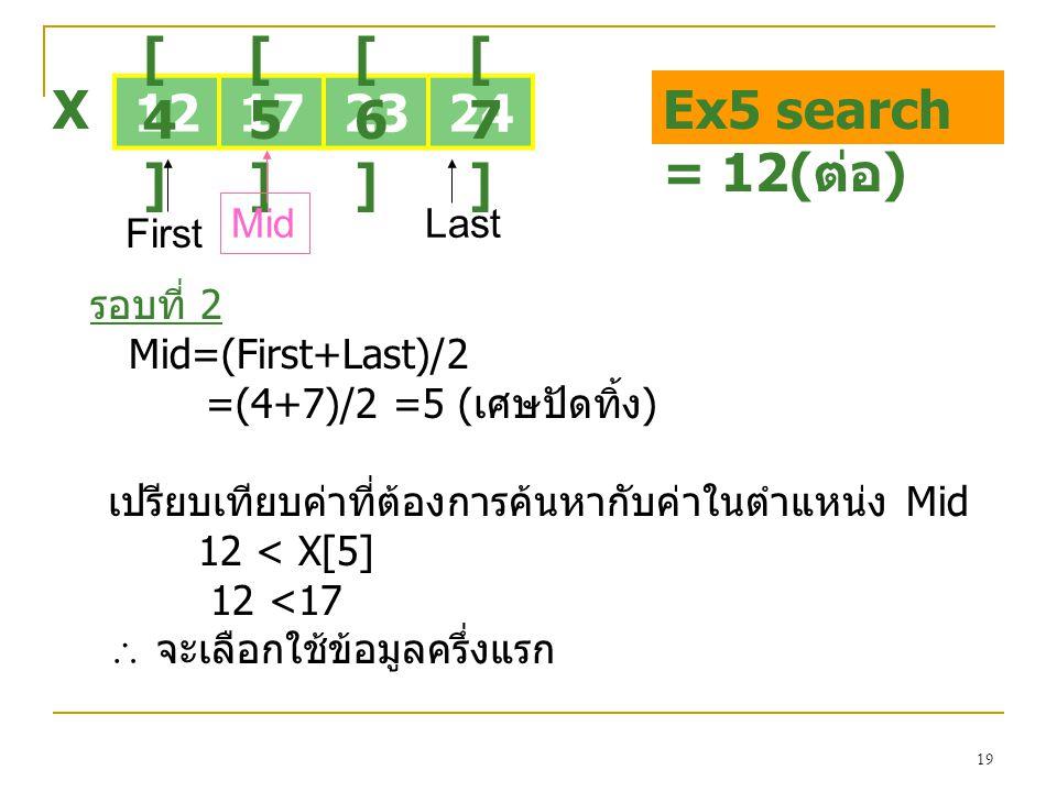 19 12172324 [4][4] [5][5] [6][6] [7][7] X First Last รอบที่ 2 Mid=(First+Last)/2 =(4+7)/2 =5 (เศษปัดทิ้ง) Mid Ex5 search = 12( ต่อ ) เปรียบเทียบค่าที่