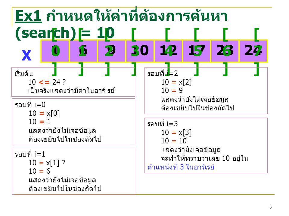 6 1691012172324 [0][0] [1][1] [2][2] [3][3] [4][4] [5][5] [6][6] [7][7] X Ex1 กำหนดให้ค่าที่ต้องการค้นหา (search) = 10 เริ่มต้น 10 <= 24 ? เป็นจริงแสด