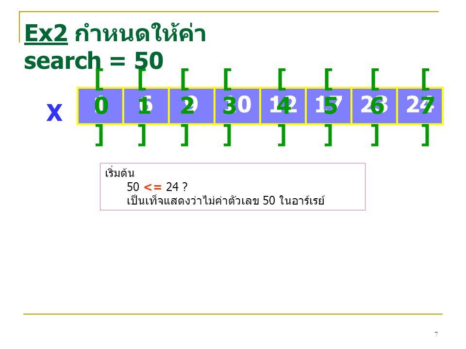 18 1691012172324 [0][0] [1][1] [2][2] [3][3] [4][4] [5][5] [6][6] [7][7] X Ex 5 กำหนดให้ค่า search = 12 First Last รอบที่ 1 Mid=(First+Last)/2 =(0+7)/2 =3 (เศษปัดทิ้ง) Mid เปรียบเทียบค่าที่ต้องการค้นหากับค่าในตำแหน่ง Mid 12 > X[3] 12 >10  จะเลือกใช้ข้อมูลครึ่งหลัง
