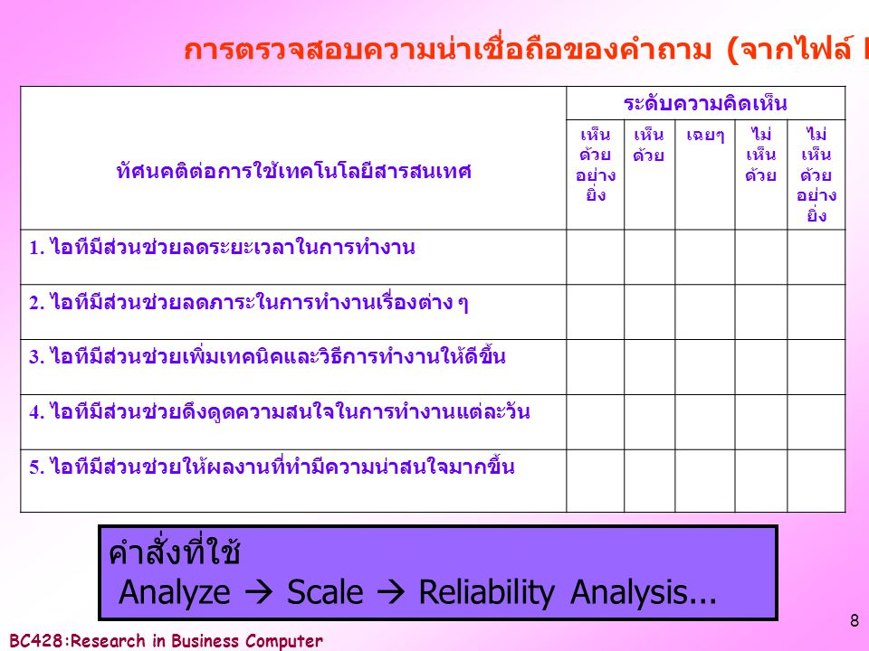 BC428:Research in Business Computer 9 ผลลั พธ์ 1 2 3 4