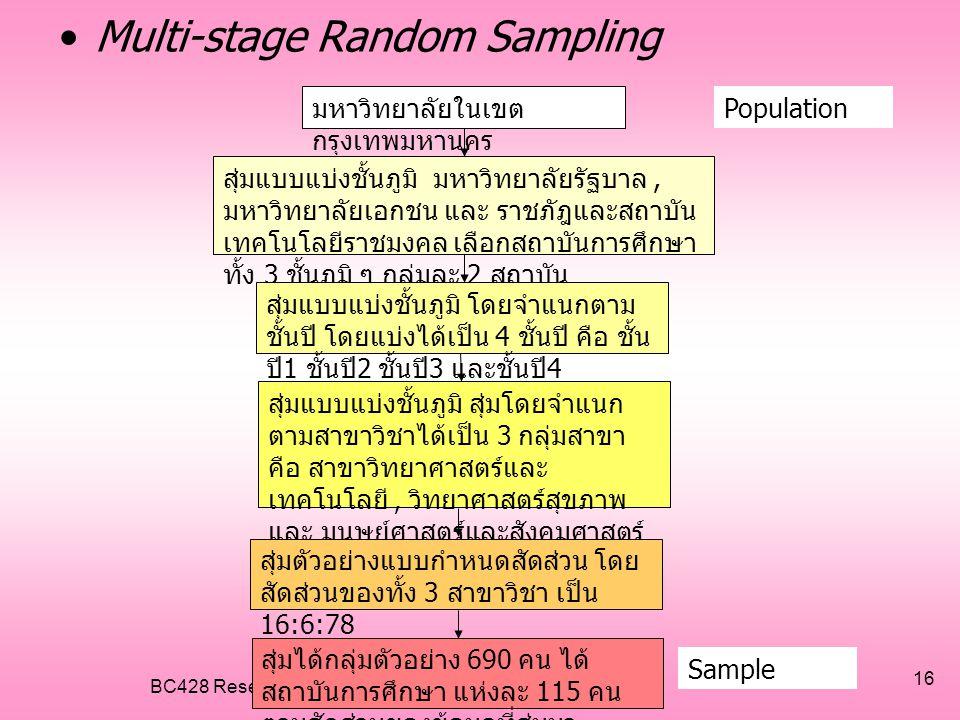 BC428 Research in Business Computer 16 •Multi-stage Random Sampling มหาวิทยาลัยในเขต กรุงเทพมหานคร Population สุ่มแบบแบ่งชั้นภูมิ มหาวิทยาลัยรัฐบาล, ม