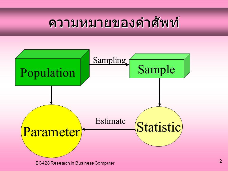 BC428 Research in Business Computer 13 •Systematic Random Sampling เหมาะกับกลุ่มตัวอย่างที่มีการเรียงลำดับ แล้ว กำหนดขนาดของ กลุ่มตัวอย่างที่จะสุ่ม เช่น ประชากรทั้งหมด 400 คน จะได้กลุ่มตัวอย่างจาก ทั้งหมดประมาณ 100 คน •นำประชากรทั้งหมด หารด้วยกลุ่มตัวอย่าง •เลือกสุ่มคนแรกของกลุ่มตัวอย่าง จากเลข 1 ถึง 4 โดยอาจจะใช้วิธีจับฉลาก หรือใช้ตารางเลขสุ่ม สมมติว่า จับฉลากได้คนที่ 2 ดังนั้น คนแรกจะเป็นคนที่ 2 ดัง ตัวอย่างในตาราง •คนต่อไป จะเพิ่มขึ้นทีละ 4 ไปเรื่อย ๆ คือ กลุ่มตัวอย่าง คนที่ 2, 6, 10,...