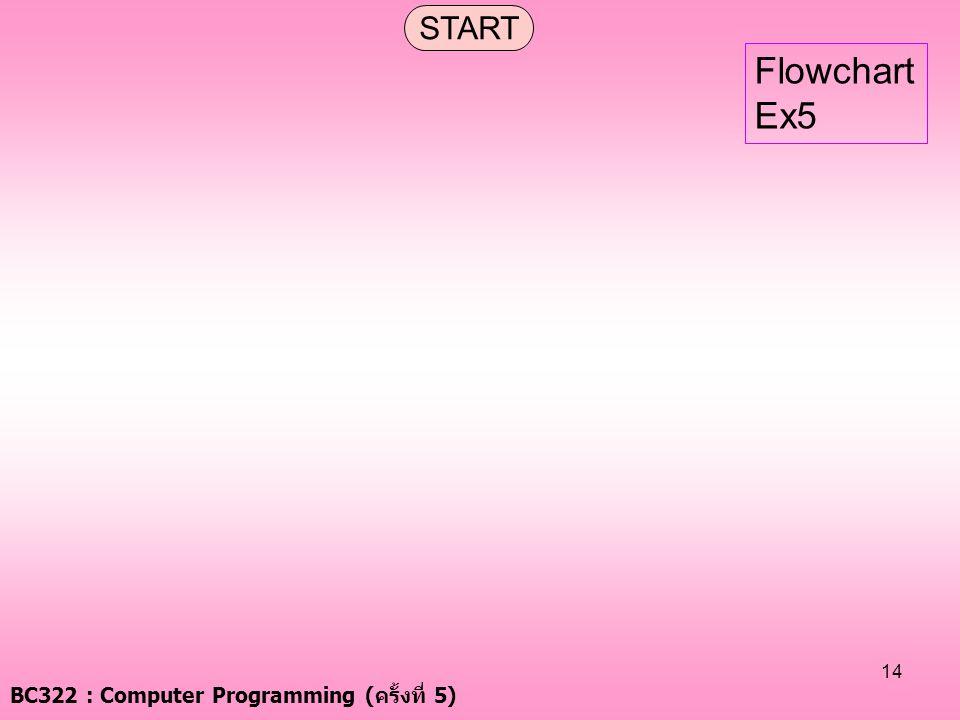 BC322 : Computer Programming ( ครั้งที่ 5) 14 START Flowchart Ex5