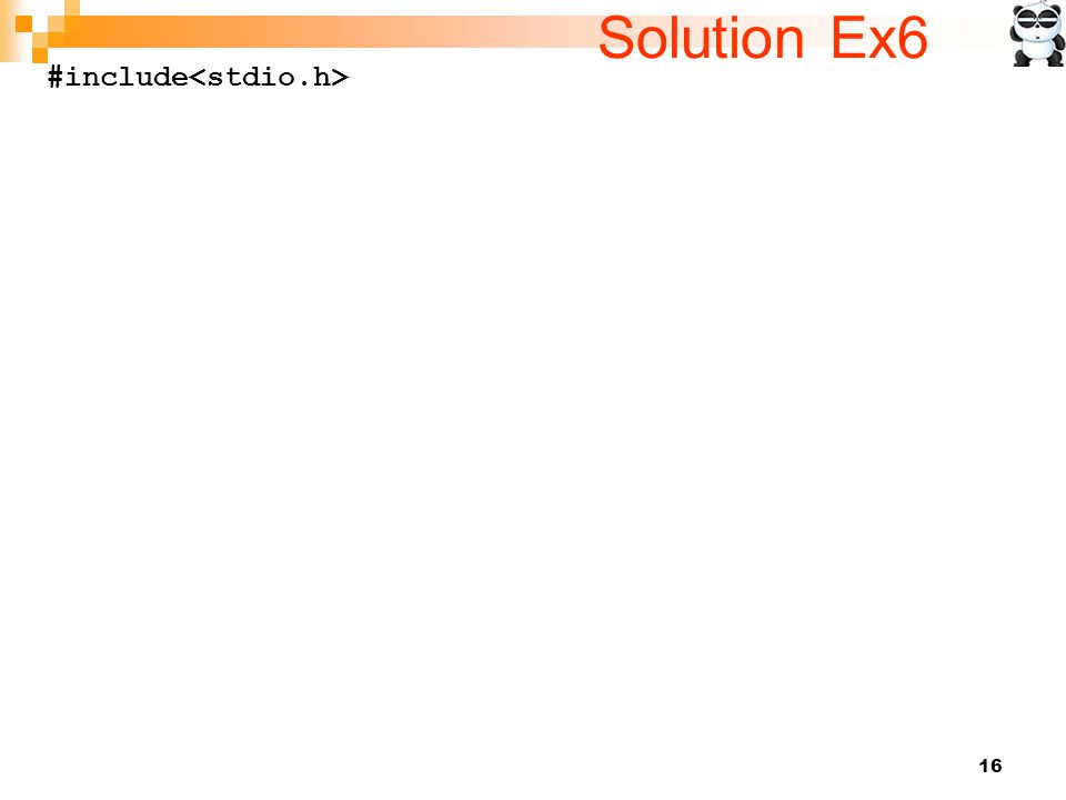 16 Solution Ex6 #include