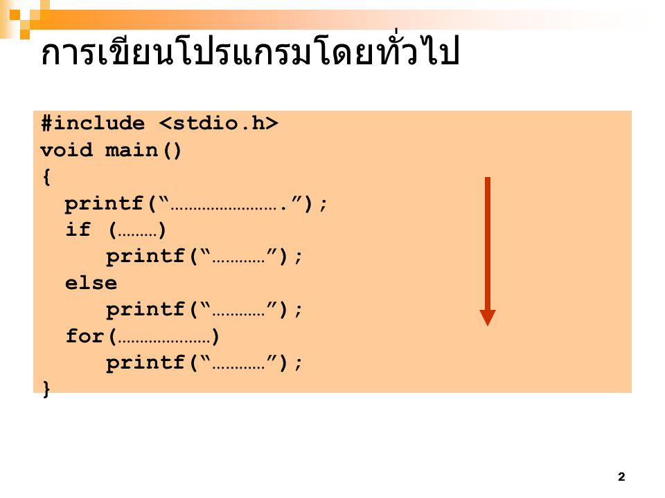 3 การเขียนโปรแกรมแบบมีฟังก์ชันย่อย #include void sub1() { if (………) printf( ………… ); else printf( ………… ); } void sub2() { for(…………………) printf( ………… ); } void main() { printf( ……………………. ); sub1(); sub2(); } ฟังก์ชันย่อย sub1 ฟังก์ชันย่อย sub2