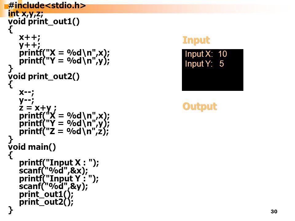 30 #include int x,y,z; void print_out1() { x++; y++; printf(