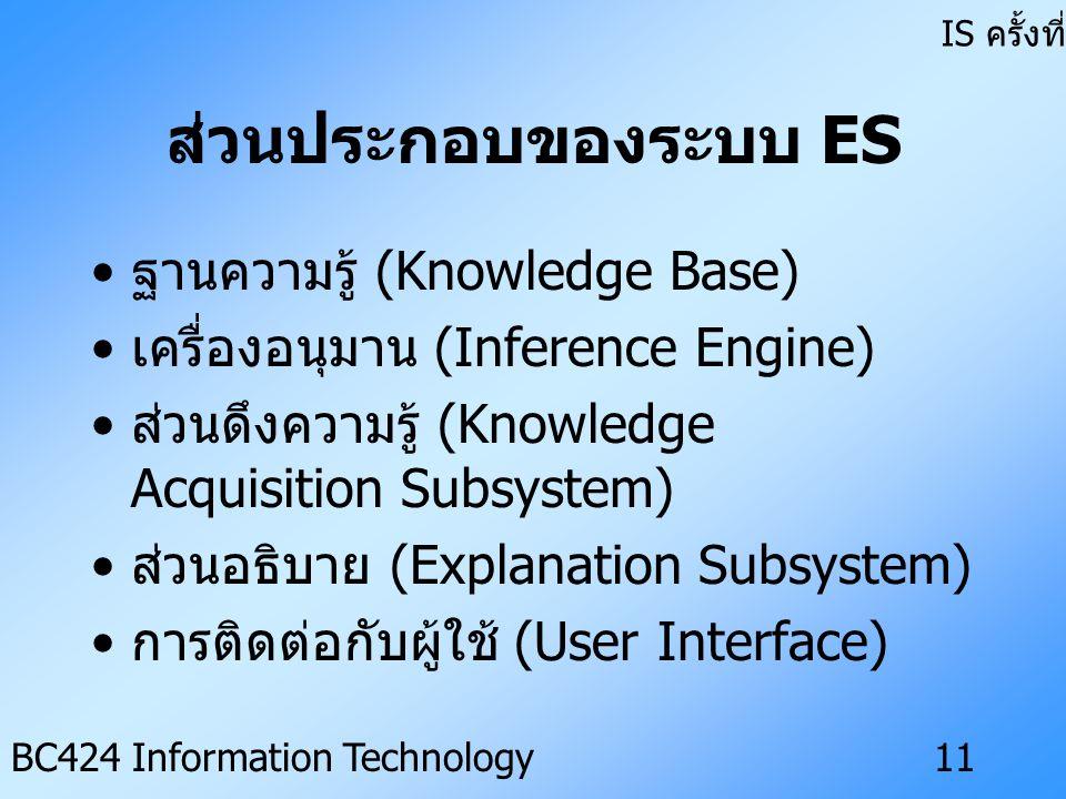 IS ครั้งที่ 3 BC424 Information Technology10 ระบบผู้เชี่ยวชาญ (Expert System : ES) ระบบสารสนเทศที่ออกแบบและพัฒนา โดยมีลักษณะเป็นชุดคำสั่งของ คอมพิวเตอร์ที่เก็บรวบรวมความรู้ เกี่ยวกับปัญหาเฉพาะเรื่องและ กระบวนการอนุมาน เพื่อนำไปสู่ผลสรุป ของปัญหานั้น