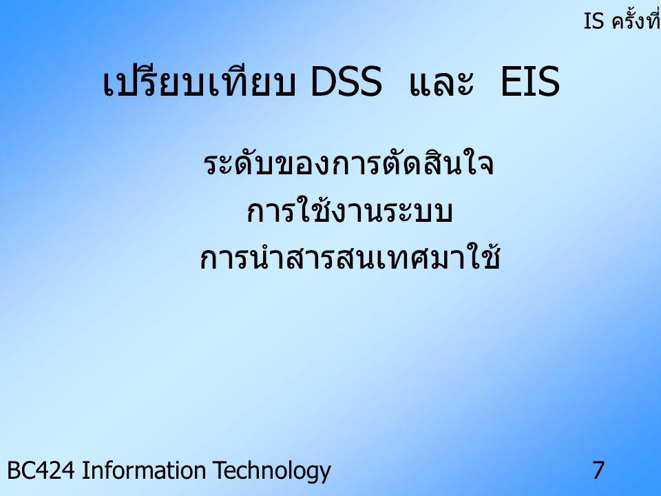 IS ครั้งที่ 3 BC424 Information Technology6 คุณสมบัติของ EIS • สนับสนุนการวางแผนกลยุทธ์ • เชื่อมโยงกับสิ่งแวดล้อมภายนอก องค์กร • มีความสามารถในการคำนวณภาพ กว้าง • ง่ายต่อการเรียนรู้และการใช้งาน • พัฒนาเฉพาะสำหรับผู้บริหาร