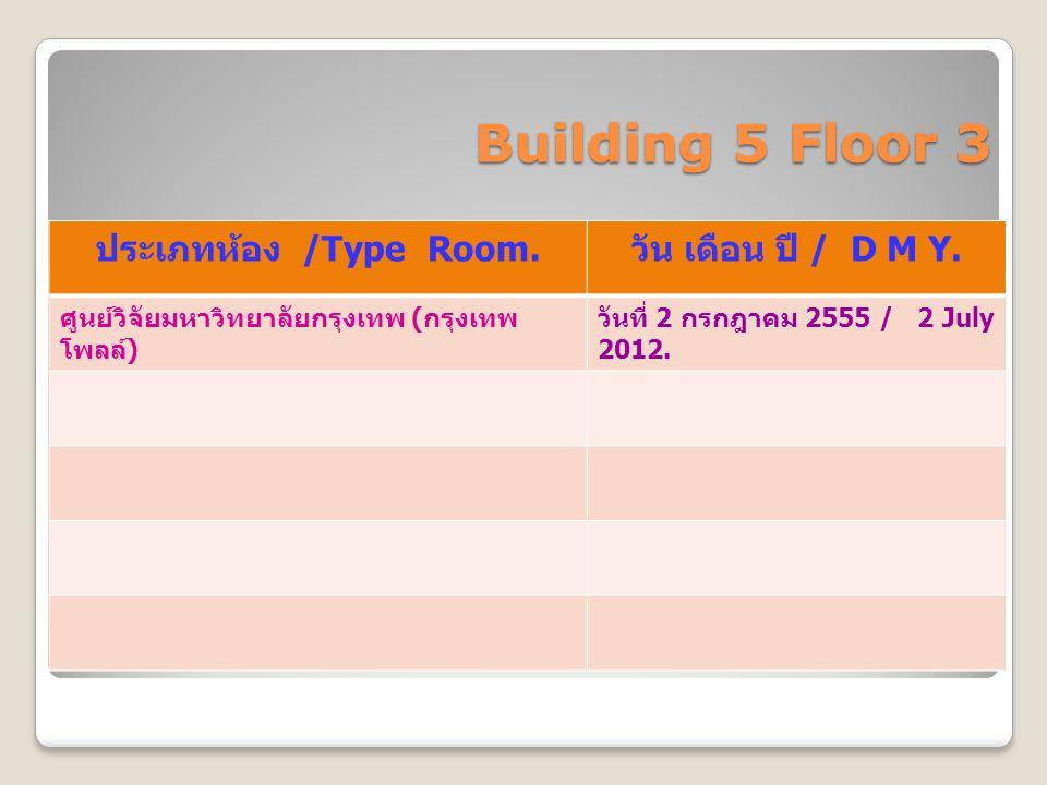 Building 5 Floor 3 ประเภทห้อง /Type Room. วัน เดือน ปี / D M Y. ศูนย์วิจัยมหาวิทยาลัยกรุงเทพ ( กรุงเทพ โพลล์ ) วันที่ 2 กรกฎาคม 2555 / 2 July 2012.