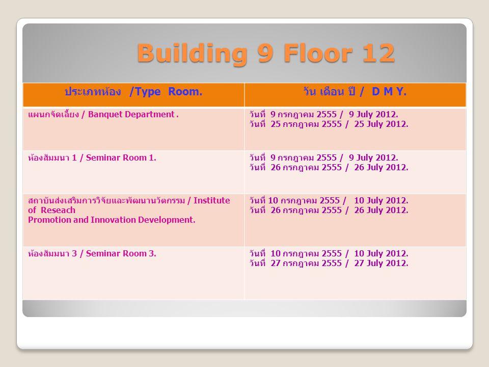 Building 9 Floor 12 Building 9 Floor 12 ประเภทห้อง /Type Room. วัน เดือน ปี / D M Y. แผนกจัดเลี้ยง / Banquet Department. วันที่ 9 กรกฎาคม 2555 / 9 Jul