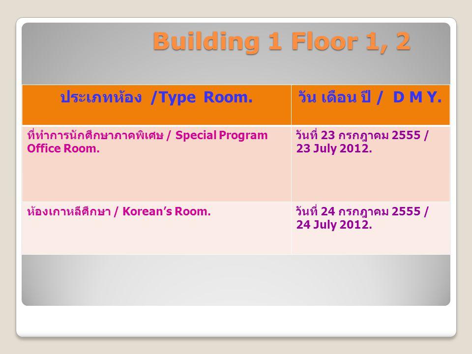 Building 1 Floor 1, 2 ประเภทห้อง /Type Room. วัน เดือน ปี / D M Y. ที่ทำการนักศึกษาภาคพิเศษ / Special Program Office Room. วันที่ 23 กรกฎาคม 2555 / 23