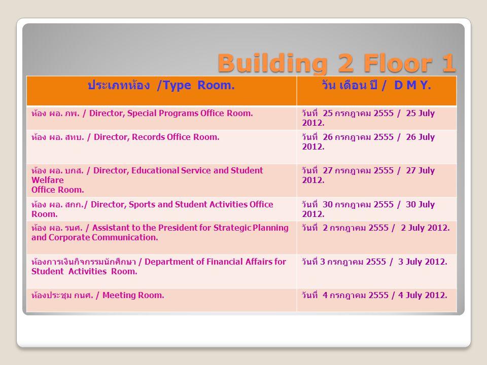 Building 2 Floor 1 ประเภทห้อง /Type Room. วัน เดือน ปี / D M Y. ห้อง ผอ. ภพ. / Director, Special Programs Office Room. วันที่ 25 กรกฎาคม 2555 / 25 Jul