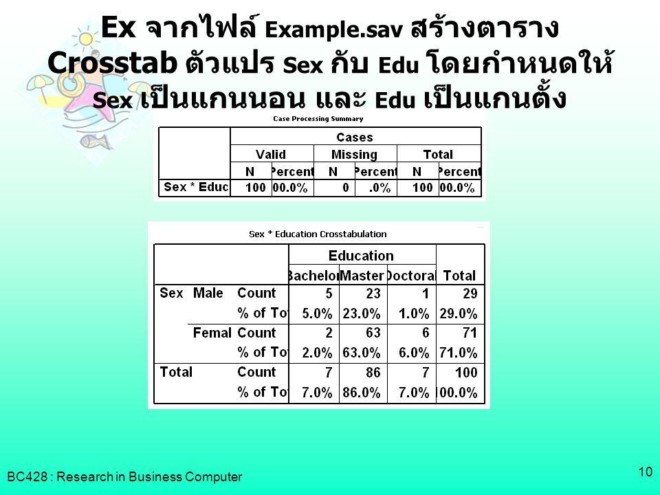 BC428 : Research in Business Computer 10 Ex จากไฟล์ Example.sav สร้างตาราง Crosstab ตัวแปร Sex กับ Edu โดยกำหนดให้ Sex เป็นแกนนอน และ Edu เป็นแกนตั้ง