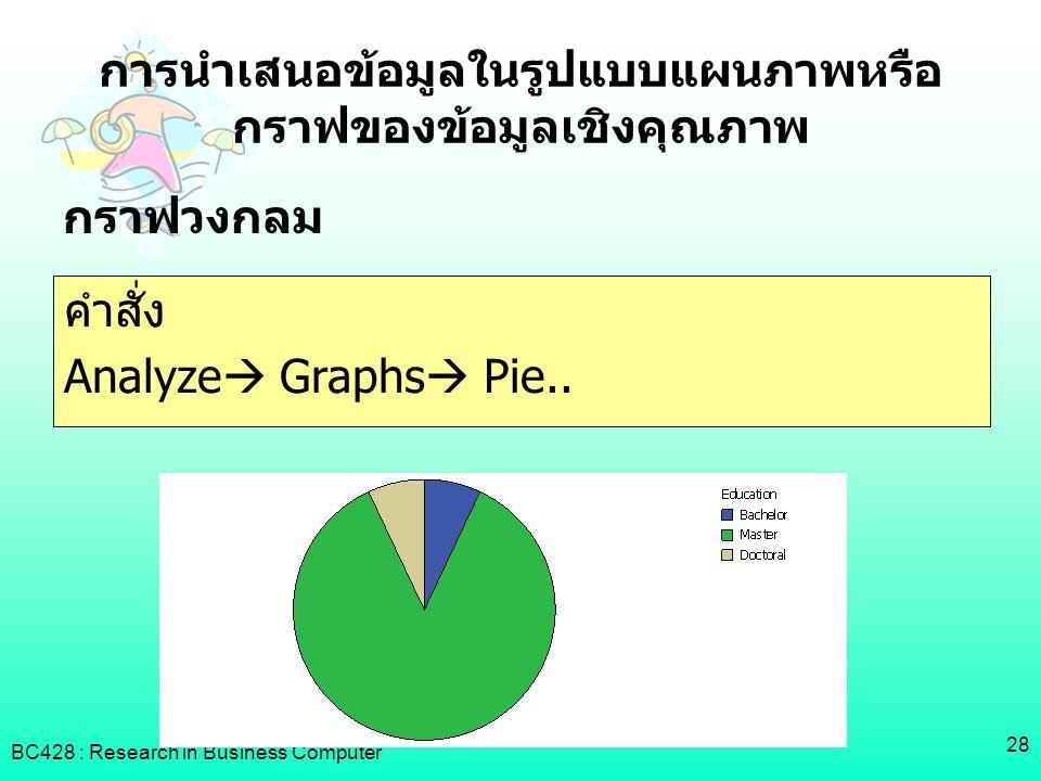 BC428 : Research in Business Computer 28 การนำเสนอข้อมูลในรูปแบบแผนภาพหรือ กราฟของข้อมูลเชิงคุณภาพ กราฟวงกลม คำสั่ง Analyze  Graphs  Pie..