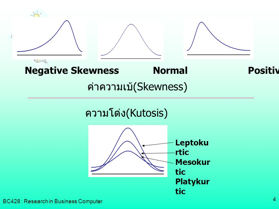 BC428 : Research in Business Computer 4 Negative Skewness Normal Positive Skewness Leptoku rtic Mesokur tic Platykur tic ความโด่ง(Kutosis) ค่าความเบ้(Skewness)