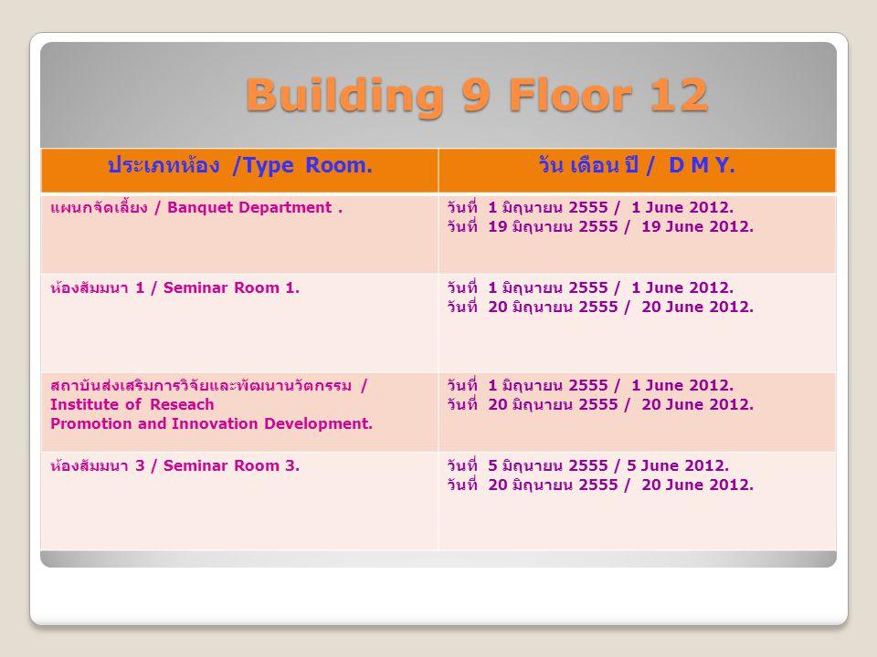 Building 9 Floor 12 Building 9 Floor 12 ประเภทห้อง /Type Room. วัน เดือน ปี / D M Y. แผนกจัดเลี้ยง / Banquet Department. วันที่ 1 มิถุนายน 2555 / 1 Ju