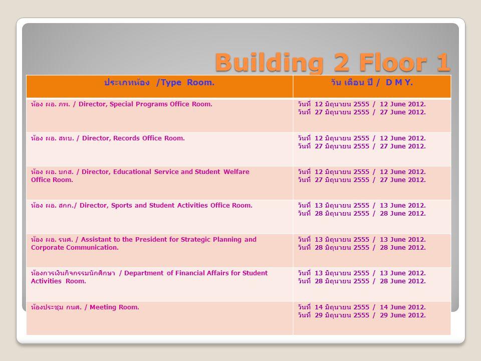 Building 2 Floor 1 ประเภทห้อง /Type Room. วัน เดือน ปี / D M Y. ห้อง ผอ. ภพ. / Director, Special Programs Office Room. วันที่ 12 มิถุนายน 2555 / 12 Ju