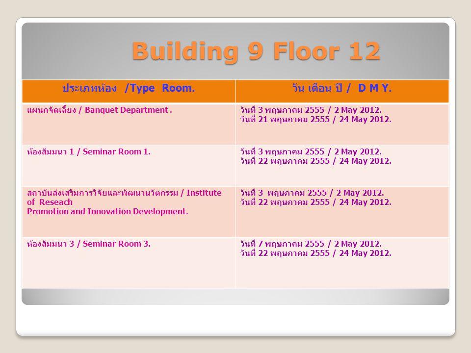 Building 9 Floor 12 Building 9 Floor 12 ประเภทห้อง /Type Room. วัน เดือน ปี / D M Y. แผนกจัดเลี้ยง / Banquet Department. วันที่ 3 พฤษภาคม 2555 / 2 May