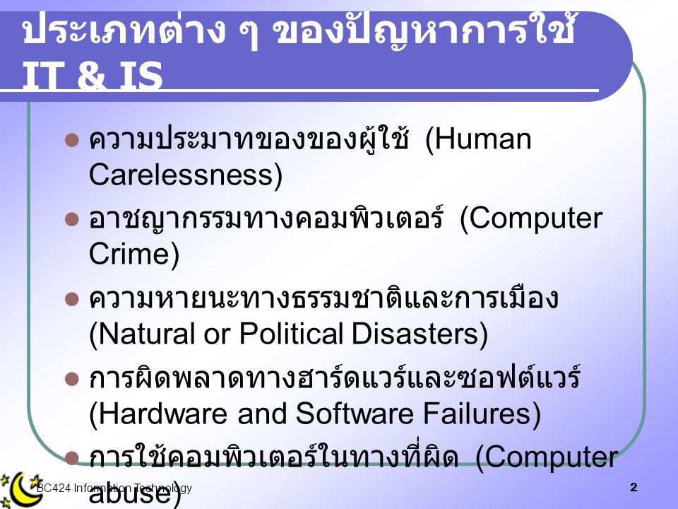 2 ประเภทต่าง ๆ ของปัญหาการใช้ IT & IS  ความประมาทของของผู้ใช้ (Human Carelessness)  อาชญากรรมทางคอมพิวเตอร์ (Computer Crime)  ความหายนะทางธรรมชาติแ