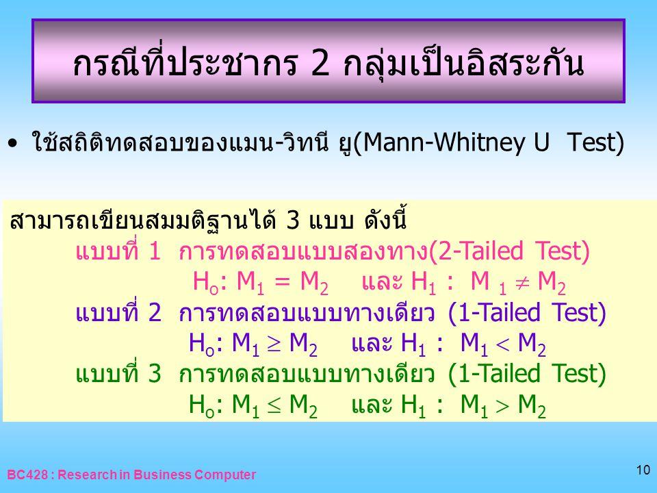 BC428 : Research in Business Computer 10 กรณีที่ประชากร 2 กลุ่มเป็นอิสระกัน •ใช้สถิติทดสอบของแมน-วิทนี ยู(Mann-Whitney U Test) สามารถเขียนสมมติฐานได้