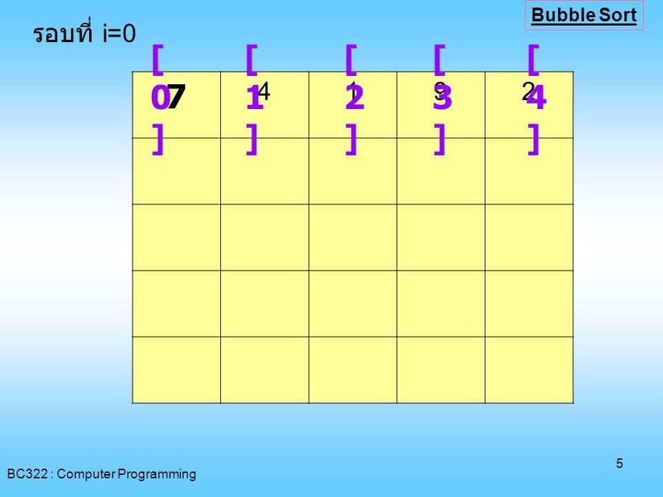 BC322 : Computer Programming 6 [0][0] [1][1] [2][2] [3][3] [4][4] รอบที่ i=1 Bubble Sort