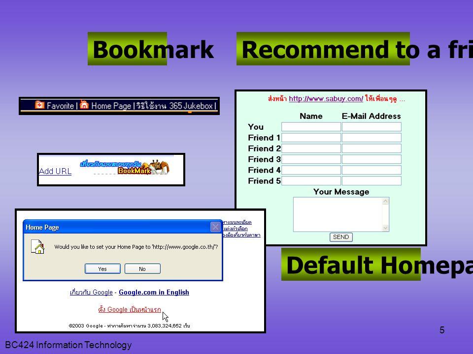 BC424 Information Technology 26  ใช้ FFA เพื่อเพิ่ม Link Popularity  FFA (Free For All Link Page) เช่น ffanet.com, ffa-usa.net