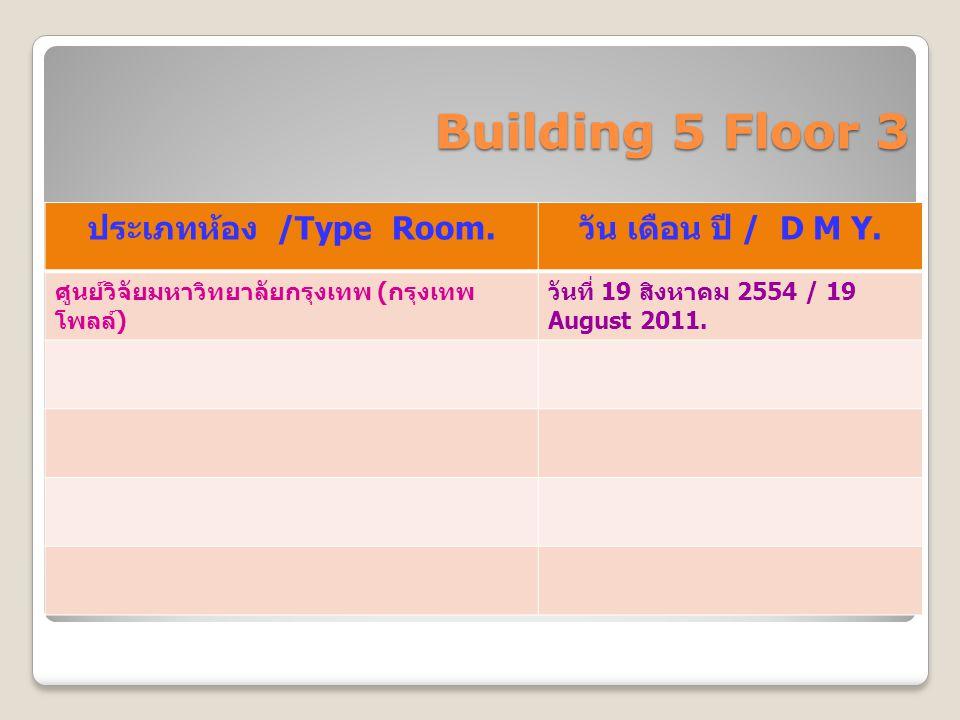 Building 5 Floor 3 ประเภทห้อง /Type Room. วัน เดือน ปี / D M Y. ศูนย์วิจัยมหาวิทยาลัยกรุงเทพ ( กรุงเทพ โพลล์ ) วันที่ 19 สิงหาคม 2554 / 19 August 2011