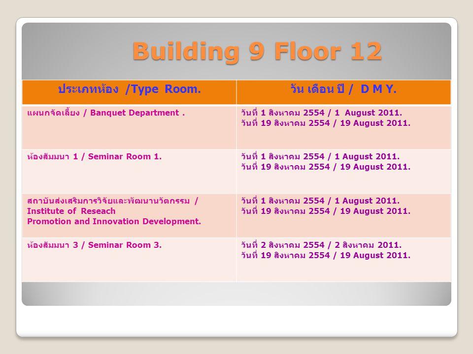 Building 9 Floor 12 Building 9 Floor 12 ประเภทห้อง /Type Room. วัน เดือน ปี / D M Y. แผนกจัดเลี้ยง / Banquet Department. วันที่ 1 สิงหาคม 2554 / 1 Aug