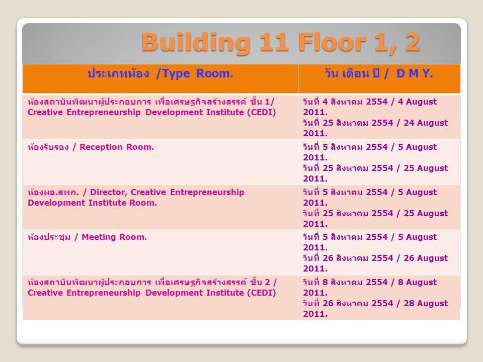 Building 11 Floor 1, 2 ประเภทห้อง /Type Room. วัน เดือน ปี / D M Y. ห้องสถาบันพัฒนาผู้ประกอบการ เพื่อเศรษฐกิจสร้างสรรค์ ชั้น 1/ Creative Entrepreneurs